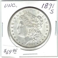 1891-S $1 MORGAN SILVER DOLLAR, UNCIRCULATED