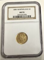 NEWFOUNDLAND 1885 TWO DOLLAR GOLD NGC GRADED AU55 NICE  DATE