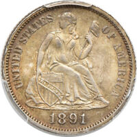 1891-O SEATED LIBERTY DIME MINT STATE 62, PCGS 10C C00047336