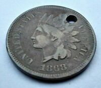 1868 INDIAN HEAD PENNY KEY DATE CLEAR DATE CIRCULATED 151 YEAR OLD PENNY W/HOLE