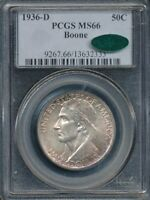 1936-D BOONE COMMEMORATIVE HALF DOLLAR PCGS MINT STATE 66 / CAC LOW MINTAGE 5,005