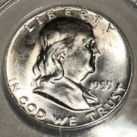 1955 FRANKLIN  HALF DOLLAR ANACS MINT STATE 63 FBL  GORGEOUS SILVER GEM  $$$