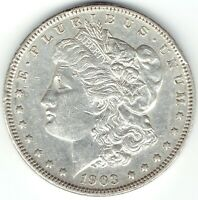 1903-P $1 MORGAN SILVER DOLLAR, AU WITH TINY RIM DINGS, GREAT FOR DATE SET