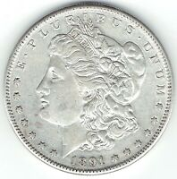 1891-S $1 MORGAN SILVER DOLLAR  AU