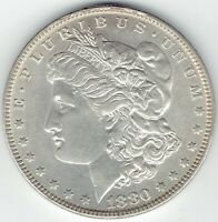1880-O $1 MORGAN SILVER DOLLAR TOP END AU/SLIDER, FITS LY IN MOST SETS