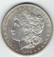 1879-S $1 MORGAN SILVER DOLLAR,  AU VARIETY, PARTIALLY FILLED S