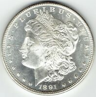 1891-S $1 MORGAN SILVER DOLLAR BLAZING PL WITH LIGHT REVERSE TONING GEM BU