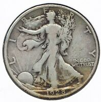 1928-S WALKING LIBERTY 90 SILVER HALF DOLLAR 50C STANDING US COIN