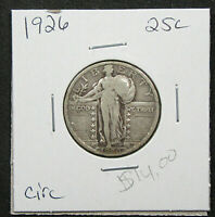 1926 25C STANDING LIBERTY QUARTER. CIRCULATED. PLEAING DETAIL. 1119286