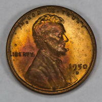1950-D 1C LINCOLN WHEAT SMALL CENT, UNCIRCULATED RED TONING LOTS840