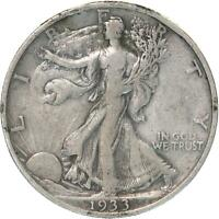 1933 S WALKING LIBERTY HALF DOLLAR 90 SILVER VF DETAILS CLEANED SEE PHOTOS C238