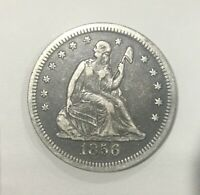 1856 P SEATED LIBERTY QUARTER PLEASING GREY SHARP COIN NICE FOR TYPE SET