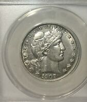 1907 O NEW ORLEANS BARBER HALF ANACS GRADED AU 50 CLEANED DIE CLASH LUSTRE