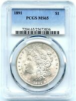 1891 MORGAN SILVER DOLLAR PCGS MINT STATE 65, CREAMY AND WHITE LUSTER, BRILLIANT COIN