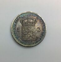 1837  NETHERLANDS 1 GULDEN KM55  NICE ORIGINAL  COLLECTOR COIN TONING