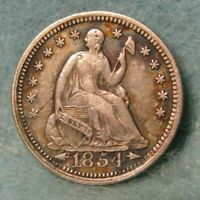 1854 SEATED LIBERTY SILVER HALF DIME XF   UNITED STATES COIN