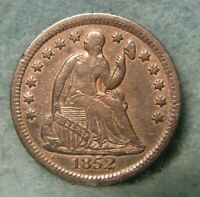 1852 SEATED LIBERTY SILVER HALF DIME VF   UNITED STATES COIN