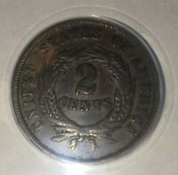 1864 2C LARGE MOTTO TWO CENT ANACS VF35