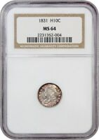 1831 H10C NGC MINT STATE 64 - BEAUTIFUL AND LUSTROUS - EARLY HALF DIMES