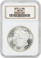 1879-S $1 NGC MINT STATE 65 - MORGAN SILVER DOLLAR