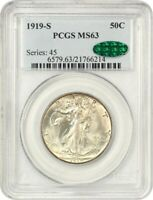 1919-S 50C PCGS/CAC MINT STATE 63 - , EARLY WALKER - WALKING LIBERTY HALF DOLLAR