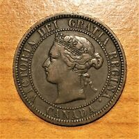 1881 H CANADA CENT COIN KM 7 VF   ULTRA  MIXED FONTS