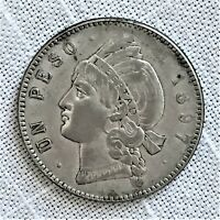 1897 A DOMINICAN REPUBLIC PESO COIN KM 16 SILVER ONE YEAR TYPE