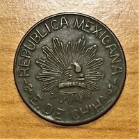 1914 MEXICO 5 CENTAVOS COIN CHIHUAHUA KM 612 XF