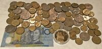 $100 AUSTRALIA  COINS & NOTE  CHEAP VACATION MONEY? SEE PICTURES >