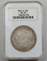1900-O MORGAN SILVER DOLLAR, NGC MINT STATE 65 DUAL RAINBOW TONED STICKER MISSING ON BACK