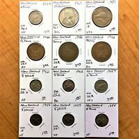 LOT OF 12 NEW ZEALAND 1948 1967 COINS VF BU 3P 6P FLORIN 20CTS 1/2 &1 PENNY