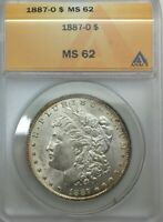 1887 O MORGAN DOLLAR ANACS MS 62  PQ RIM LIGHT TONED  LUSTROUS GREAT COIN
