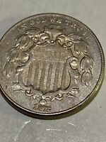 1872  MINT SHIELD NICKEL W/ RAYS