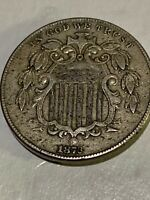 1873  MINT SHIELD NICKEL W/ RAYS