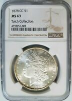 1878 CC MORGAN SILVER DOLLAR NGC MINT STATE 63 TOLCH COLLECTION HOARD PEDIGREE