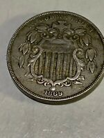 1869 MINT SHIELD NICKEL W/ RAYS