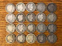 LOT OF 20 BARBER SILVER DIMES VARIOUS DATES AND MINTMARKS