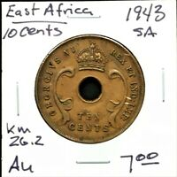1943 SA EAST AFRICA 10 CENTS KING GEORGE VI KM 26.2