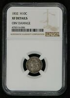 1832 H10C CAPPED BUST HALF DIME, EARLY U.S. COIN NGC EXTRA FINE  DETAILS LOTS929