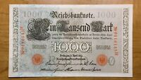 1910 GERMANY 1000 MARKS BANKNOTE PICK 44B THICK PAPER HIGH GRADE