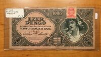 1945 HUNGARY 1000 PENGO BANKNOTE PICK 118B WITH STAMP