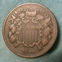 1870 TWO CENT PIECE VF   UNITED STATES COIN