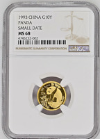 1993 CHINA 10 YUAN SMALL DATE GOLD PANDA COIN NGC/NCS MINT STATE 68 CONSERVED BY NCS