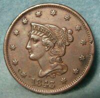 1843 BRAIDED HAIR LARGE CENT CHOICE XF DETAILS   UNITED STAT