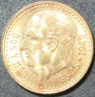 1945 MEXICO TWO AND ONE HALF PESO GOLD COIN