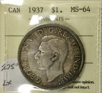 1937 GEORGE VI DOLLAR ICCS  MS64  PLEASING TONING  XGZ910  SHARP COIN