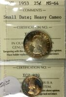 CANADA 1953 SF CAMEO 10 CENT PQ TONER & ICCS MS64 1953 SMALL DATE 25 CENT PQ