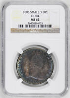 1803 DRAPED BUST 50C NGC MINT STATE 62
