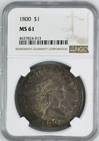 1800 DRAPED BUST $1 NGC MINT STATE 62