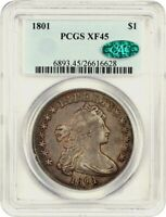 1801 $1 PCGS/CAC EXTRA FINE 45 - CHOICE TYPE COIN - BUST SILVER DOLLAR - CHOICE TYPE COIN